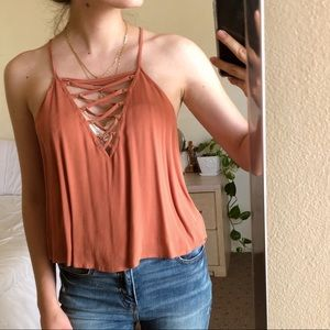 Burnt Orange Criss Cross Top